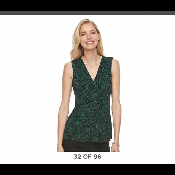 7848eccbb25a95 Dana Buchman Tops | Green Leopard Print Pleated V Neck | Poshmark